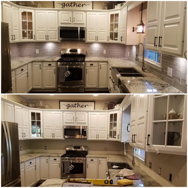 Back Splash before and after